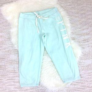 VS Pink Mint Green Cropped Lounge Sweatpants